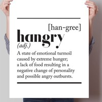 Hangry Dictionary Definition Print