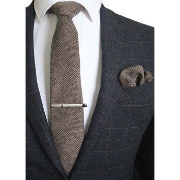 GUSLESON 8cm Wool Tie Solid Plaid Necktie For Men Quality Cravats Cashmere Tie and Handkerchief Set Suit For Wedding Party
