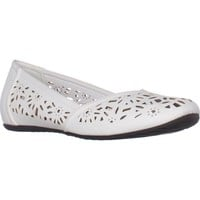 Easy Street Charlize Cutout Ballet Flats, White, 7.5 US