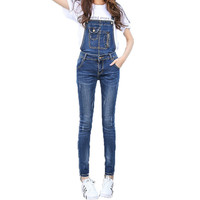Womens Jumpsuits Blue Denim Overalls Casual Skinny Girls Pants Jeans Detachable Rompers Elastic Jumpsuits & Rompers D124