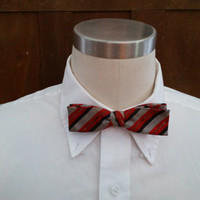 Vintage Mid Century Red Black Stripe Van Heusen Clip On Bow Tie