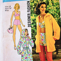 1970s Hooded Beach Cover Up Jacket Swimsuit Pattern Simplicity Designer Fashion Misses size 14 Jacket, 2 piece Bathing Suit Pattern