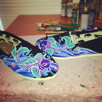 Hand painted Custom TOMS shoes- Koi fish and waves