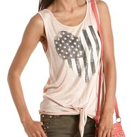 Tie-Front American Flag Graphic Tank: Charlotte Russe