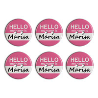Marisa Hello My Name Is Plastic Resin Button Set of 6