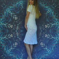 vintage hand made crochet white cotton lace dress / hand made net and floral 1970s hippie gown / flower power