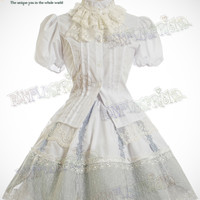 "Elegant Classical Lolita:""Lunar Sea"" Scallop Embroidery Skirt*4Color Instant"
