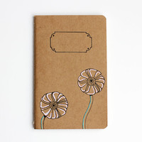 Small Notebook, Pretty Pastel Ranunculus, Pocket Journal, Illustration, Flower, Hand Drawn, Sketchbook, OOAK - Mother's Day