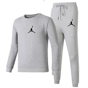 AIR JORDAN 2018 autumn and winter new simple sports suit men and women casual two-piece Grey