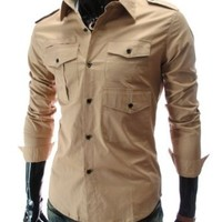 Amazon.com: TheLees Mens slim fit style strap 3 pocket shirts: Clothing