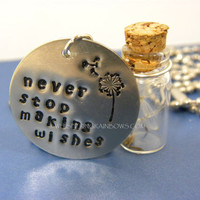 Dandelion Glass Jar Necklace Hand Stamped Metal - Never Stop Making Wishes
