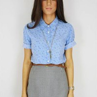 Cornflower Blue Daisy Blouse Size 10 from Annie and the Mannequins