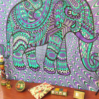 Shopnelo Jaipurhandloom Christmas Gift Hippie Elephant Tapestries, Large Size Tapestry Wall Hanging, Mandala Tapestries, Bohemian Tapestries, Wall Tapestries, Dorm Decor, Queen Bed Cover Bedding
