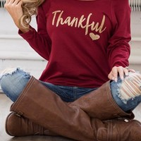 Red Monogram Print One Shoulder Long Sleeve T-Shirt