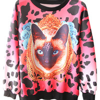 ROMWE | Cat&Leopard Print Hoodie, The Latest Street Fashion