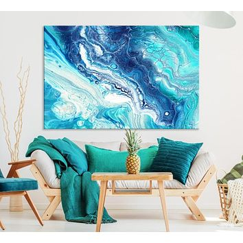 Extra Large Blue Abstract Wall Art Canvas Print