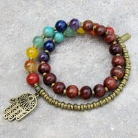 Chakra Bracelet, Genuine Gemstones and Wood 27 Bead Mala Wrap Chakra Bracelet
