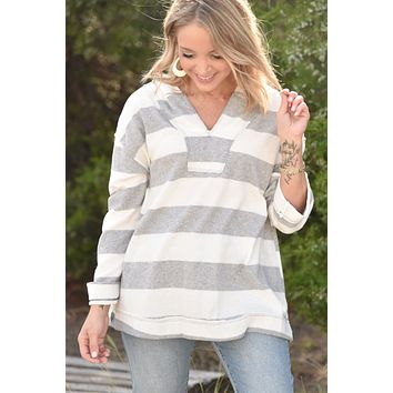 Afternoon Stroll Top - Gray/White Stripe