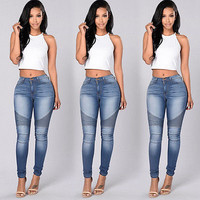 2016 New Arrive Autumn Sexy Women Denim Skinny Pants High Waist Stretch Jeans Slim Pencil Trousers