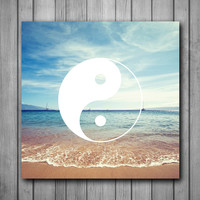 Beach Yin Yang Art Background Photo Panel - Durable Finish - High Definition - High Gloss