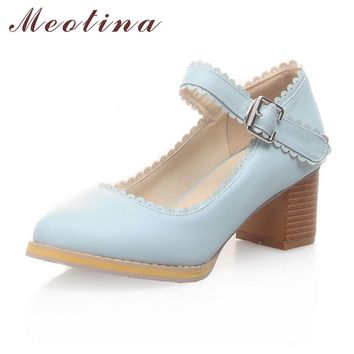 Meotina Women Shoes Pumps Autumn Closed Toe Mary Jane Career Thick Medium Heels Female Ruffles Pink Shoes Large Size 42 43