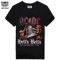 [Men bone] AC DC Heavy metal Bell Skull Men t-shirts Chain acdc summer style t-shirt cotton 100% for men t shirtfree shipping