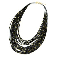 Black and Gold Seed Bead Layered Necklace