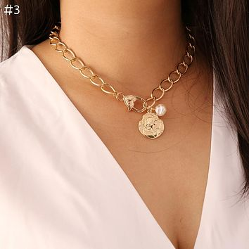 Vintage Pearl Necklaces For Women Fashion Multi Layer Shell Knot Pearl Chain Necklace Coin Cross Choker Jewelry