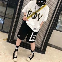 """Boy London"" Women Casual Personality Cool Flame Eagle Letter Print Short Sleeve Shorts Set Two-Piece Sportswear"