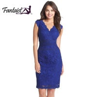 Fantaist Women Summer Sleeveless Scollaped Wrap Sexy Deep V Neck Cocktail Party Casual Work Slim Mini Bodycon Floral Lace Dress
