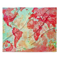 "Alison Coxon ""Oh The Places We'll Go"" World Map Fleece Throw Blanket"