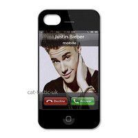 JUSTIN BIEBER CALLING IPHONE 4/4S/ IPHONE 5 HARD CASE COVER in black and white