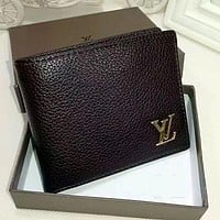 Louis Vuitton Men Leather Purse Wallet G