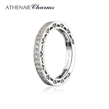 ATHENAIE 925 Sterling Silver Cubic Zirconia Stackable Ring Eternity Bands for Women Wedding Color White