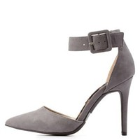 Dark Gray Ankle Strap D'Orsay Pointed Toe Pumps by Charlotte Russe