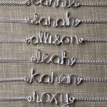Name Bracelet Sterling Silver Bracelet Small Name Personalized Bridesmaid gifts Girlfriend gifts
