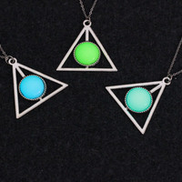 Harry Potter Deathly Hollow Triangle Glow in the Dark Trigangular Symbol Pendant Necklace Harness  Trendy Tattoo Bdsm Grunge