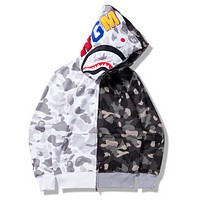 Bape Aape Shark Autumn thin section camouflage color camouflage sweatshirt long-sleeved jacket Gray + white