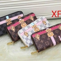 """Louis Vuitton"" Women Clutch Purse Fashion Multicolor Letter Pattern Print Long Section Zip Wallet"