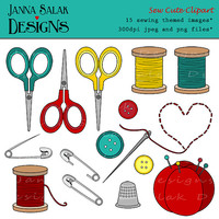 Sew Cute Digital Clipart Instant Download Sewing Accessories Blue Red Yellow