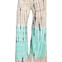 Womens Aqua Mint & Gray Color Block Tie Dyed Wide Leg Palazzo Pants