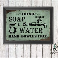 Single Image digital download Wash Room Bathroom Wall Art Decor Vintage Rustic Soap and Towel Print Graphic Art Home Decor Soap And Water