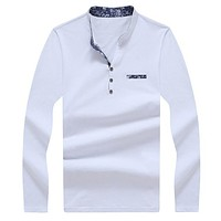 Men Solid Color Polo Shirt Cotton Long Sleeve Collar Polos Camisa Full Sleeve Casual Shirts