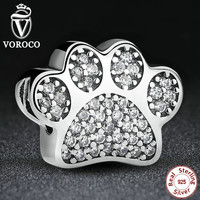 Sterling Silver 925 Clear Cubic Zirconia Paw Prints Animal Charm Fit Pandora Original Bracelet DIY Accessories Jewelry S148