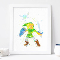 Zelda Print, Link Legend of Zelda Watercolor Art, Nursery print Kids Bedroom Decor, zelda wall art, Baby Room, zelda poster, Christmas Gift