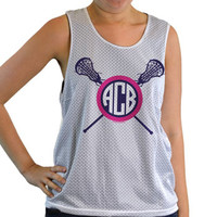 Girls Racerback Pinnie Monogram Lacrosse Sticks Pink | Lacrosse Racerbacks | Lacrosse Pinnies | Lacrosse Tank Tops | Pinnies for Lacrosse Players