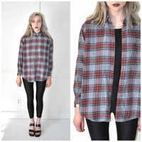 90s GRUNGE plaid FLANNEL shirt vintage 1990s UNISEX relaxed fit perfect red plaid flannel medium