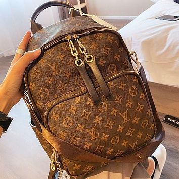 LV Louis Vuitton Women Fashion New Monogram Print Backpack Bag