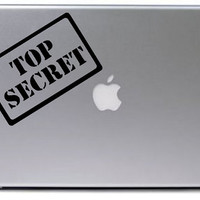 Top Secret Decal / Macbook Decal / Macbook Sticker / Laptop Decal / Laptop Sticker
