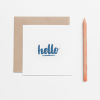 Postcard type square format handprinted - blue - kraft envelope - Hello